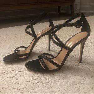 "Gianvito Rossi 4"" skinny heel black sandals"